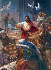 Jesus overturning the tables of the money-changers